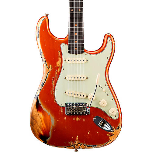 Fender Custom Shop 1962 Heavy Relic Stratocaster Electric Guitar Candy Tangerine over 3-Color Sunburst