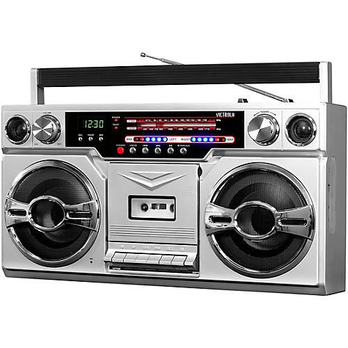 Victrola 1980's Bluetooth Boombox with Cassette Player and AM/FM Radio Silver