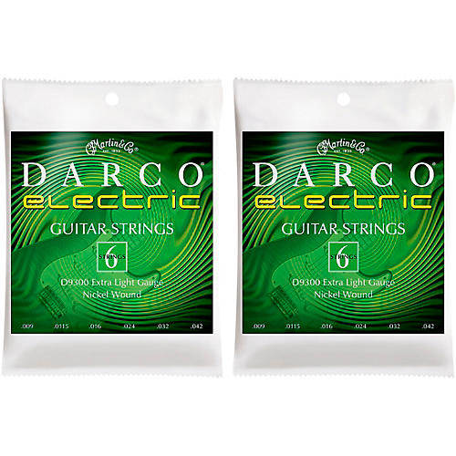 Darco 2 Pack D9300 Nickel Wound 6 Set Electric Guitar Strings-Extra Light Bundle