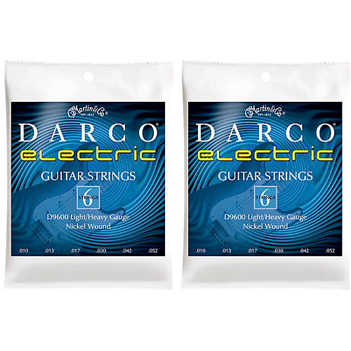 Darco 2 Pack D9600 Light/Heavy Gauge Nickel Wound 6 Set Electric Guitar Strings Bundle