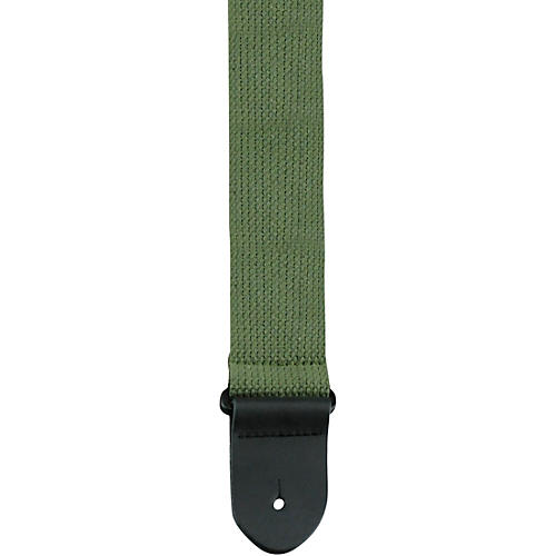 Perri's 2 in. Cotton Guitar Strap with Leather Ends Army Green