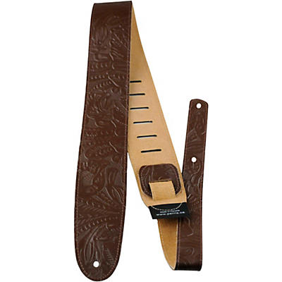 "Perri's 2.5"" Tooled Western Flower Embossed Leather Guitar Strap"