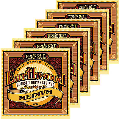 Ernie Ball 2002 Earthwood 80/20 Bronze Medium Acoustic Guitar Strings 6 Pack