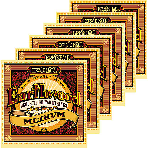 Ernie Ball 2002 Earthwood 80/20 Bronze Medium Acoustic Guitar Strings 6 Pack