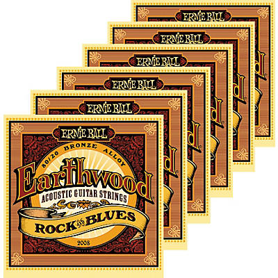 Ernie Ball 2008 Earthwood 80/20 Bronze Rock and Blues Acoustic Guitar Strings 6 Pack