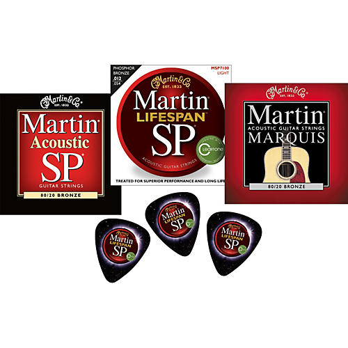 Martin 2011 Sampler 3-Pack Lifespan, SP, and Marquis Acoustic Strings with Free Picks