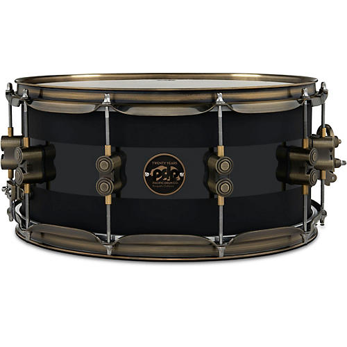 PDP by DW 20th Anniversary Snare Drum, Matte/Gloss Black, Antique Bronze Hardware 14 x 6.5 in.