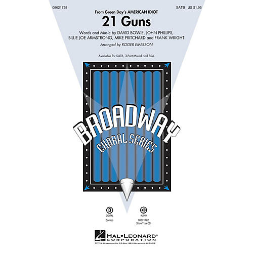 Hal Leonard 21 Guns (from Green Day's American Idiot) 3-Part Mixed Arranged by Roger Emerson