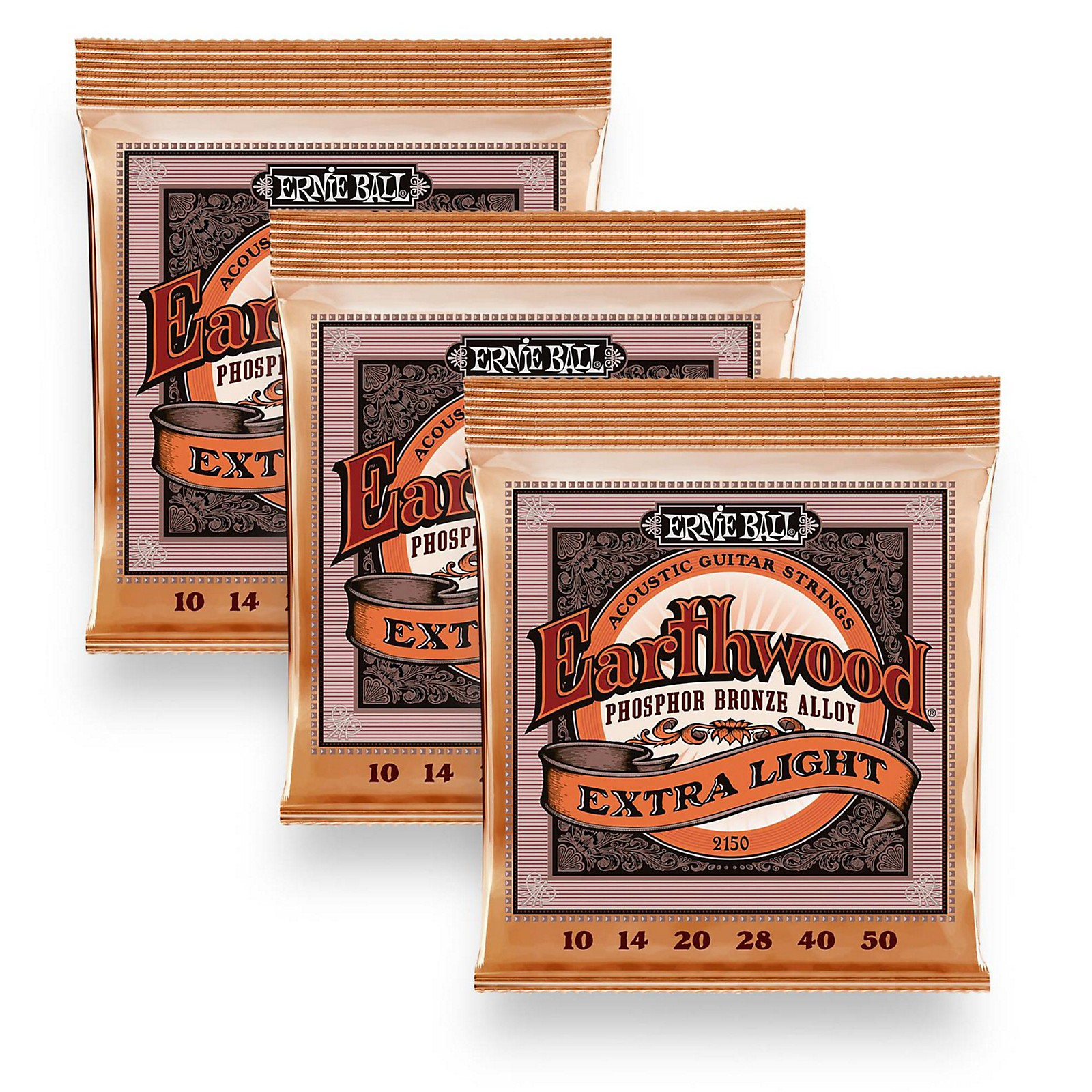 Ernie Ball 2150 Earthwood Phosphor Bronze Extra Light Acoustic Guitar Strings 3-Pack