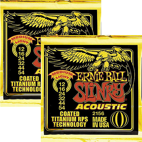 Ernie Ball 2156 Coated Slinky Acoustic Strings Medium Lite 2 Pack
