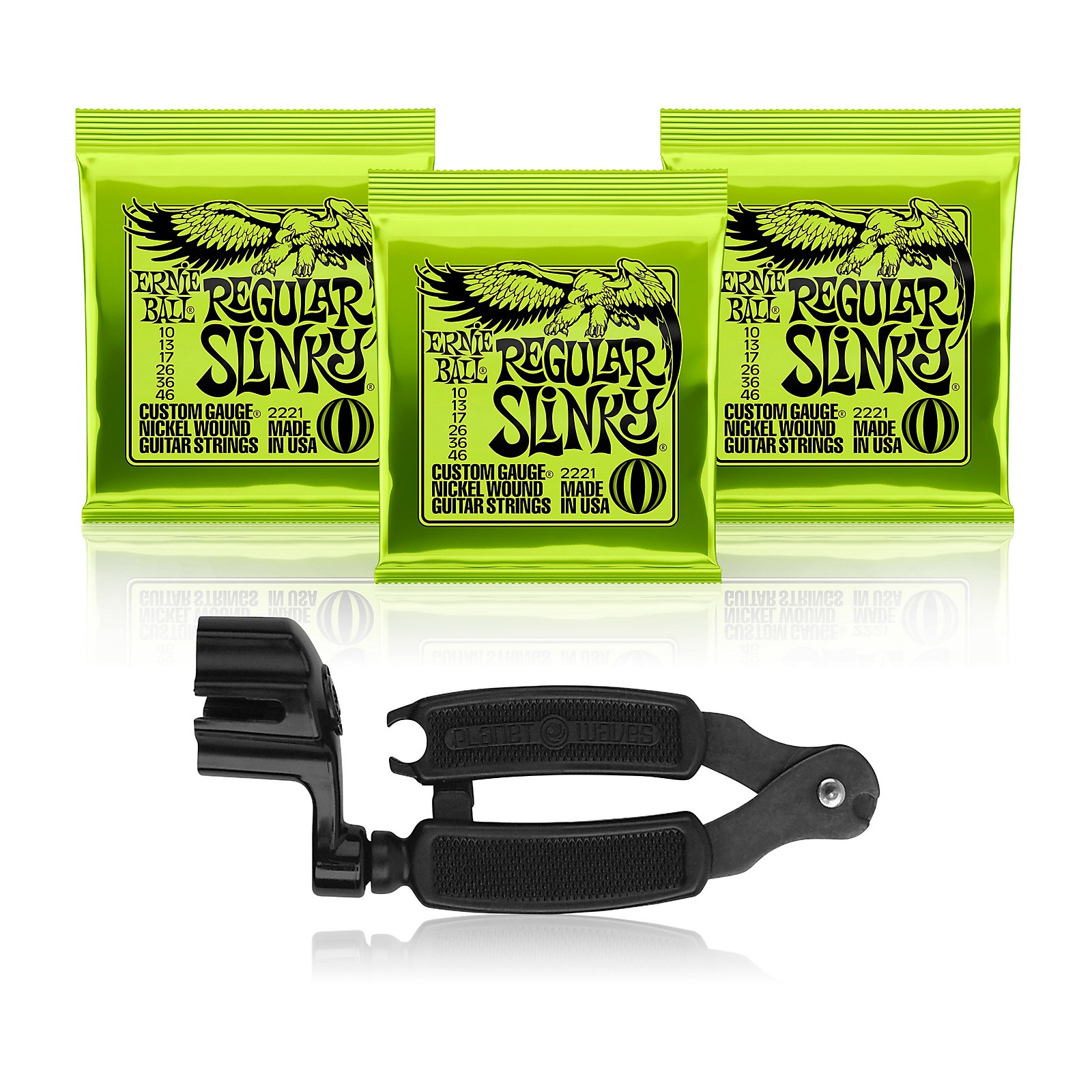 Ernie Ball 2221 Slinky Electric Guitar Strings 3-Pack with Pro-Winder String Cutter/Winder