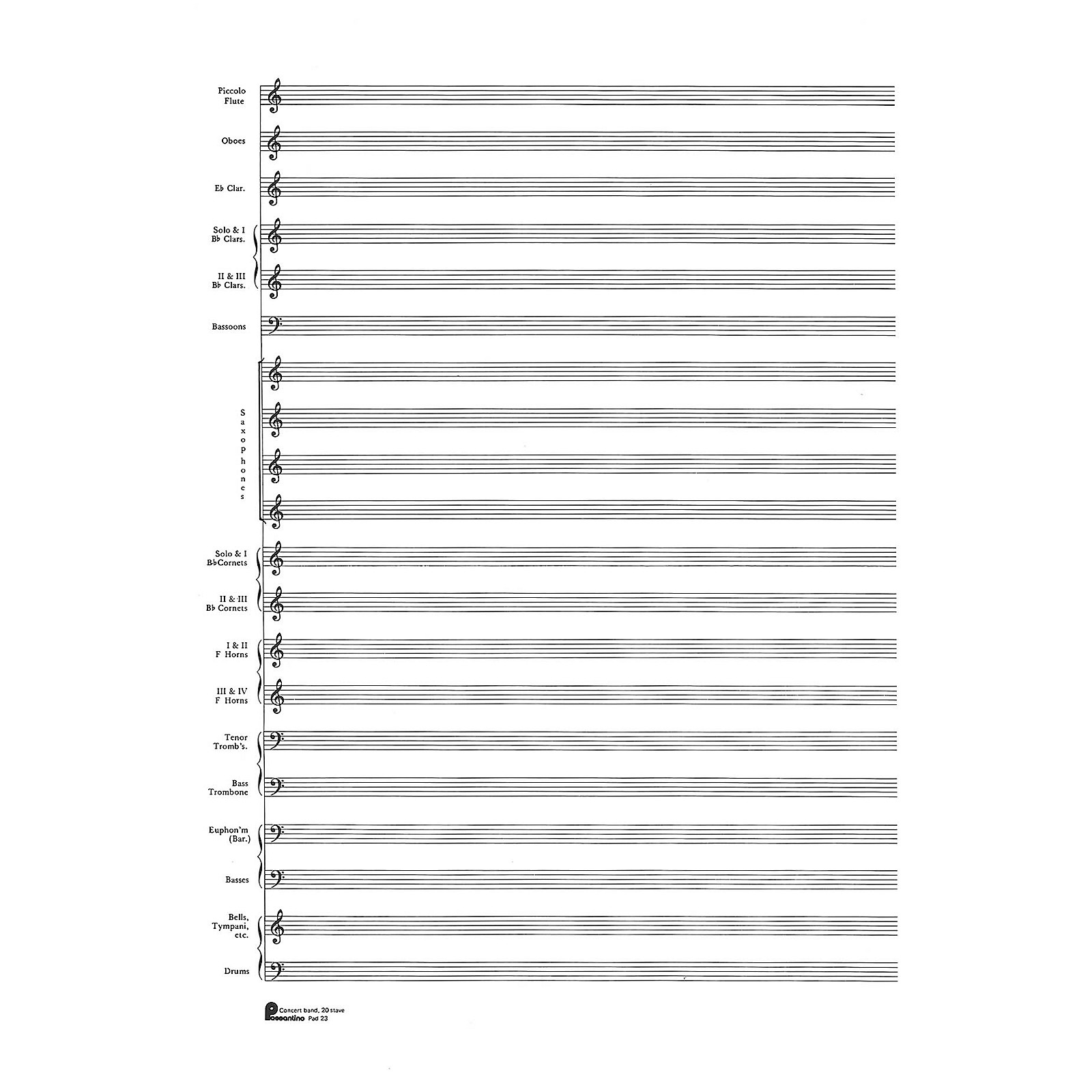 Music Sales 23. Score Pad: 20-stave (Concert Band) (Passantino Manuscript Paper) Music Sales America Series