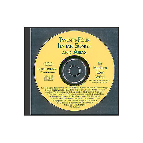 G. Schirmer 24 Italian Songs And Arias for Medium Low Accompaniment CD