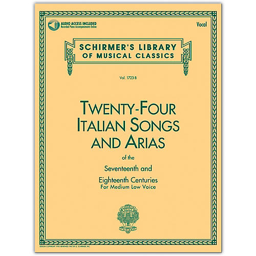 G. Schirmer 24 Italian Songs & Arias Medium Low Book/Online Audio