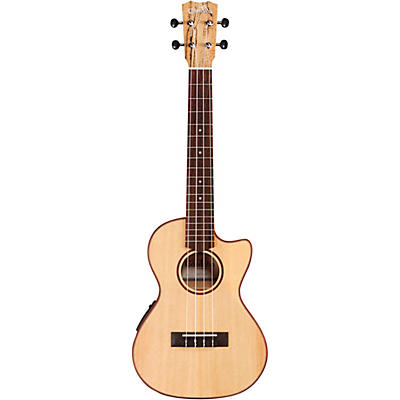 Cordoba 24T-CE Spruce Spalted Maple Cutaway Tenor Acoustic-Electric Ukulele
