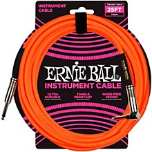 25 FT Straight to Angle Instrument Cable Neon Orange
