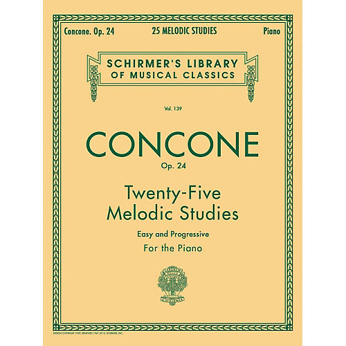 G. Schirmer 25 Melodic Studies Op 24 for Piano By Concone