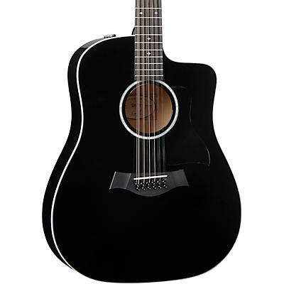 Taylor 250ce-BLK DLX 12-String Dreadnought Acoustic-Electric Guitar