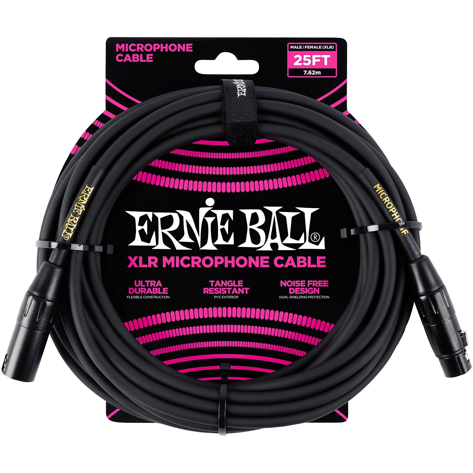 Ernie Ball 25ft XLR Microphone Cable Black