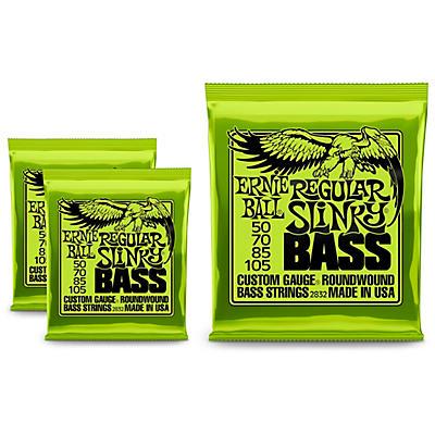 Ernie Ball 2832 Regular Slinky Round Wound Bass Strings 3 Pack