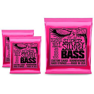 Ernie Ball 2834 Super Slinky Round Wound Bass Strings 3 Pack