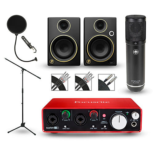 Focusrite 2i2 2nd Gen Interface with Sterling ST51 and Mackie Limited Edition CR3 Pair