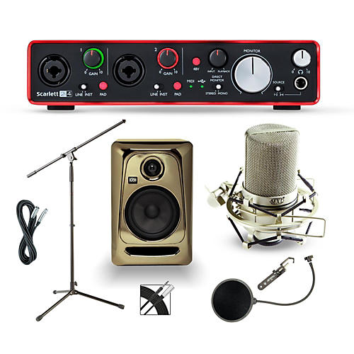 Focusrite 2i4 Recording Bundle with MXL Mic and KRK Monitors