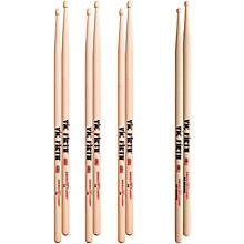 Vic Firth 3-Pair 5A Sticks with Free Pair 5A Barrel Wood Tip