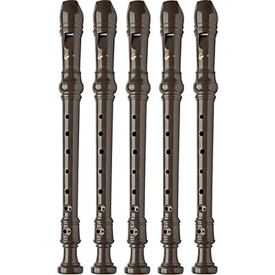 Lyons 3-Piece Recorder Baroque Fingering Brown 5-Pack
