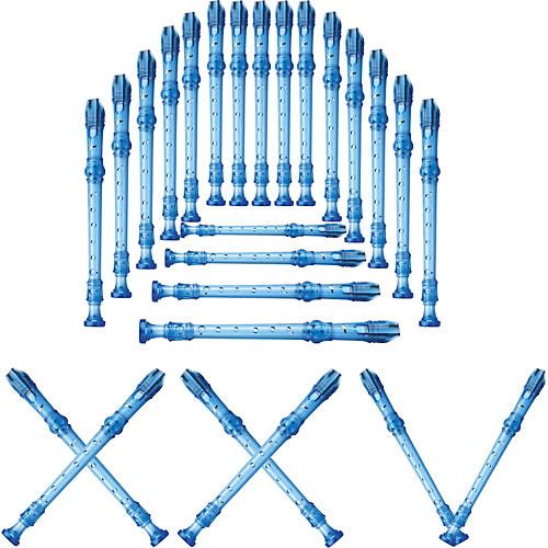 Lyons 3-Piece Recorder Baroque Fingering Transparent Blue 25-Pack