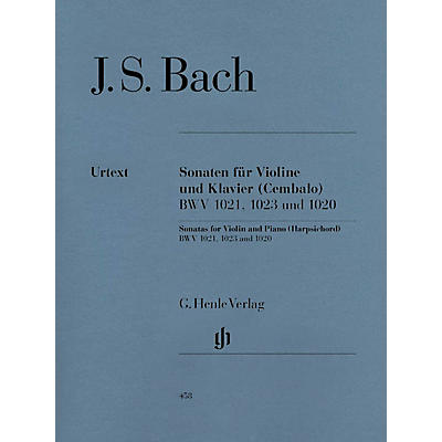 G. Henle Verlag 3 Sonatas for Violin and Piano (Harpsichord) BWV 1020, 1021, 1023 Henle Music Folios Series Softcover