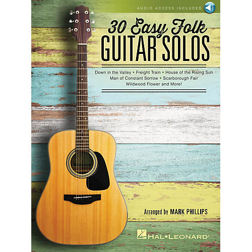 Hal Leonard 30 Easy Folk Guitar Solos Guitar Solo Series Softcover Audio Online Performed by Various