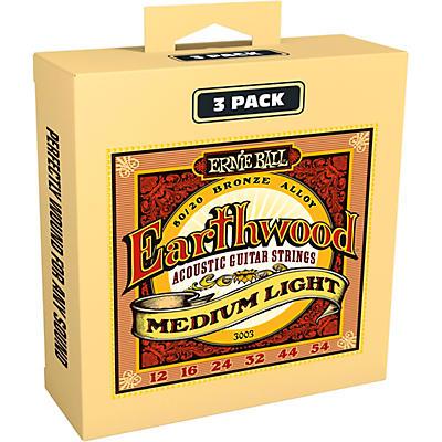 Ernie Ball 3003 Earthwood 80/20 Bronze Medium Light Acoustic Strings 3-Pack