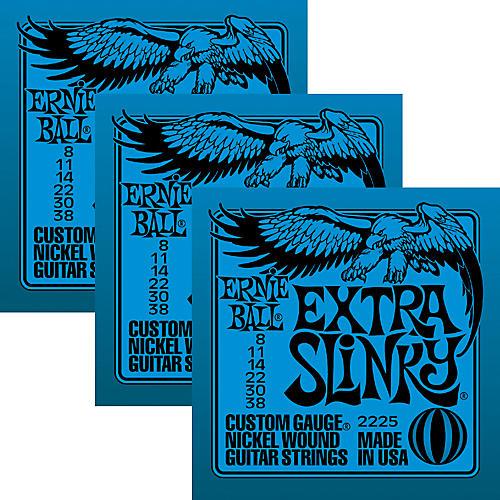 Ernie Ball 3225 Nickel Extra Slinky Electric Guitar Strings 3-Pack