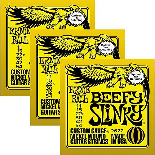 Ernie Ball 3227 Nickel Beefy Slinky Electric Guitar Strings 3-Pack