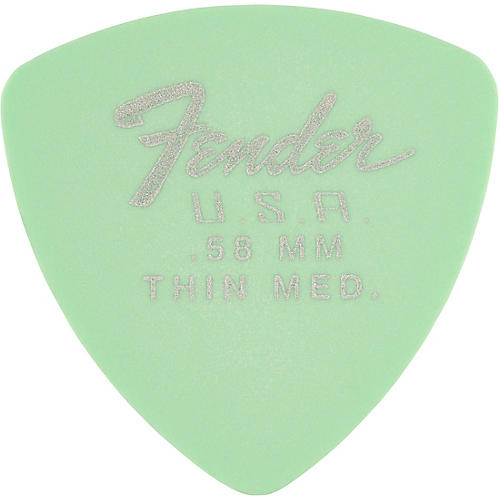 Fender 346 Dura-Tone Delrin Pick (12-Pack), Surf Green .58 mm 12 Pack