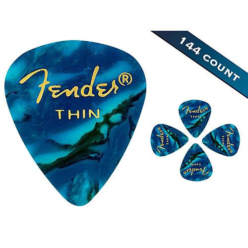 Fender 351 Premium Thin Guitar Picks - 144 Count Ocean Turquoise Moto