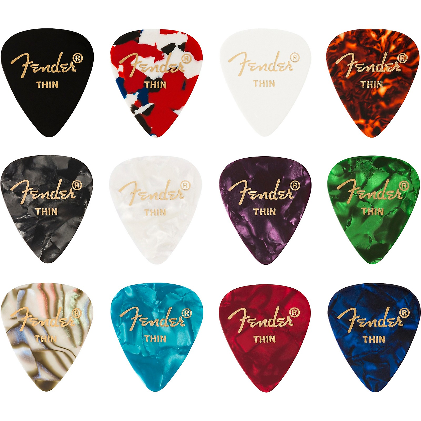 Fender 351 Shape Celluloid Medley Guitar Picks (12-pack)