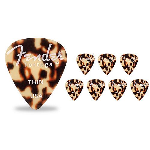 Fender 351 Shape Tortuga Ultem Guitar Picks (8-Pack), Tortoise Shell Thin