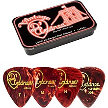 D'Andrea 351 Vintage Classic Celluloid Picks - Shell - 1 Dozen in Tin Container