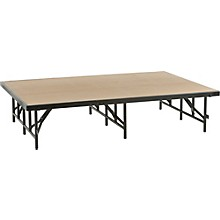 4' Deep X 6' Wide Single Height Portable Stage & Seated Riser 24 Inches High Pewter Gray Carpet