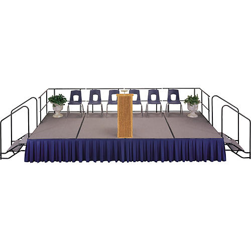 Midwest Folding Products 4' Deep X 8' Wide Single Height Portable Stage & Seated Riser 16 Inches High Hardboard Deck