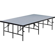 4' Deep X 8' Wide Single Height Portable Stage & Seated Riser 24 Inches High Pewter Gray Carpet