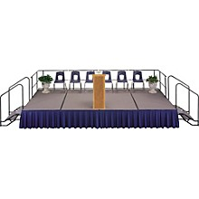 4' Deep X 8' Wide Single Height Portable Stage & Seated Riser 32 Inches High Pewter Gray Carpet
