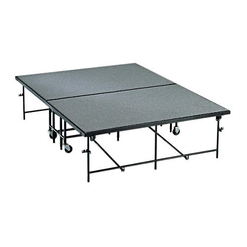 Midwest Folding Products 4' Deep x 8' Wide Mobile Stage 8 Inch High Pewter Gray Carpeted Deck
