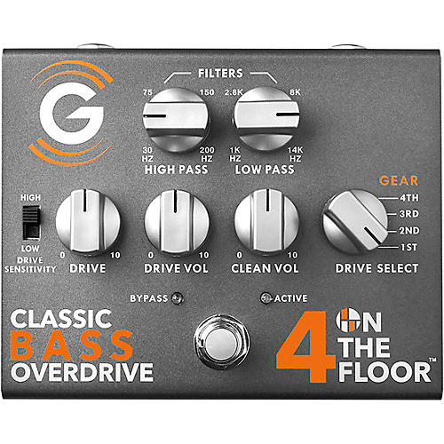 Genzler Amplification 4 On The Floor Classic Bass Overdrive Effects Pedal Platinum Silver