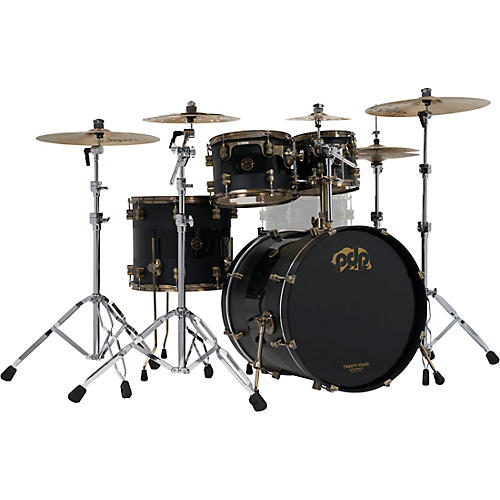 PDP by DW 4-Piece 20th Anniversary Shell Pack, Matte/Gloss Black w/Antique Bronze Hardware