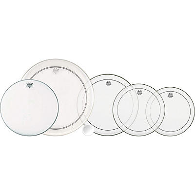 Remo 4-Piece Clear Pinstripe Pro Pack with Free 14 in. Coated Ambassador Snare Drum Head