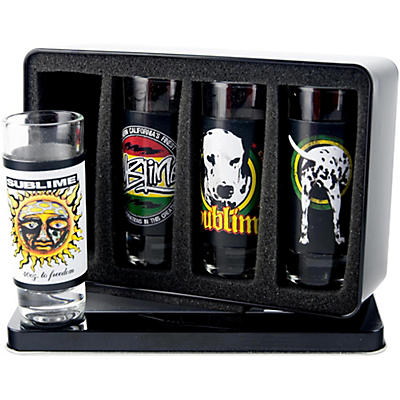 Iconic Concepts 4 Piece Sublime Shot Glass Set with Full Color Printed Removeable Aluminum Sleeves in Tin