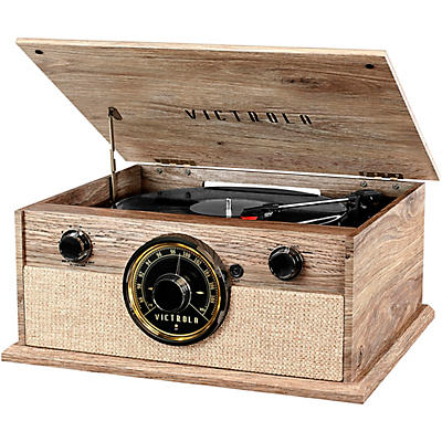 Victrola 4-in-1 Cambridge Farmhouse Modern Bluetooth Turntable with Radio